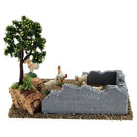 Pollaio con albero limoni presepe 8-12 cm 20x15x15 cm s10