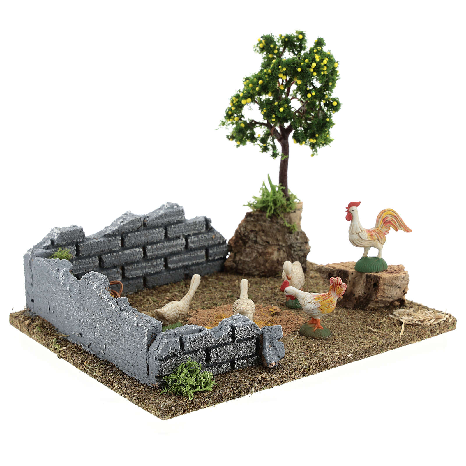 Chicken coop with lemon tree, 8-12 cm nativity 20x15x15 cm 4