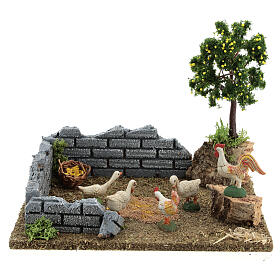 Chicken coop with lemon tree, 8-12 cm nativity 20x15x15 cm s1