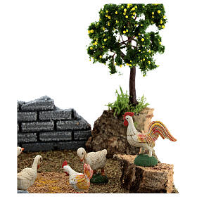 Chicken coop with lemon tree, 8-12 cm nativity 20x15x15 cm s2