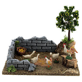 Chicken coop with lemon tree, 8-12 cm nativity 20x15x15 cm s6