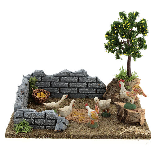 Chicken coop with lemon tree, 8-12 cm nativity 20x15x15 cm 1