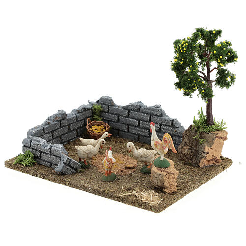 Chicken coop with lemon tree, 8-12 cm nativity 20x15x15 cm 3