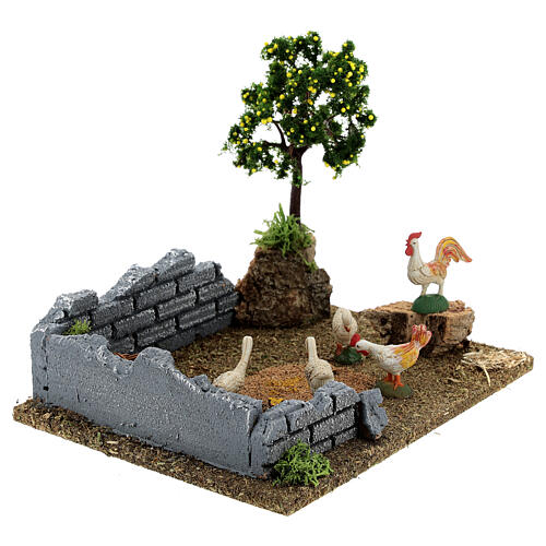 Chicken coop with lemon tree, 8-12 cm nativity 20x15x15 cm 9