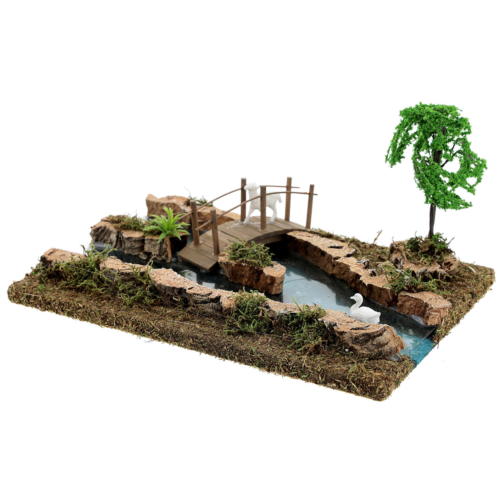 Modular river bridge and animals 12x26x18 cm nativity scenes 6-8 cm 4
