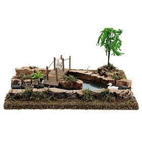 Modular river bridge and animals 12x26x18 cm nativity scenes 6-8 cm s1