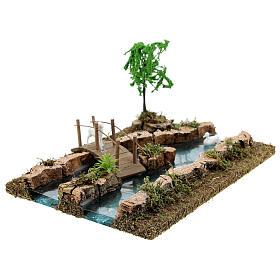 Modular river bridge and animals 12x26x18 cm nativity scenes 6-8 cm s6
