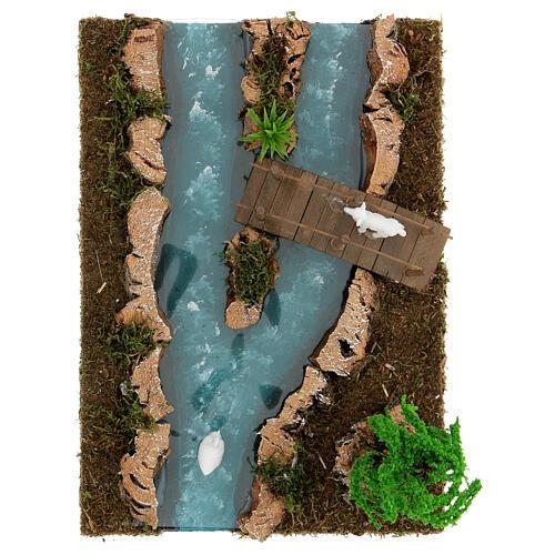 Modular river bridge and animals 12x26x18 cm nativity scenes 6-8 cm 2