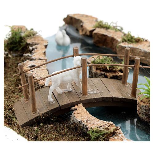 Modular river bridge and animals 12x26x18 cm nativity scenes 6-8 cm 3