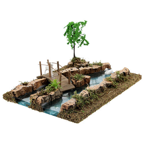 Modular river bridge and animals 12x26x18 cm nativity scenes 6-8 cm 6