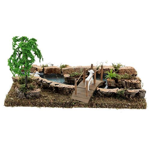 Modular river bridge and animals 12x26x18 cm nativity scenes 6-8 cm 7