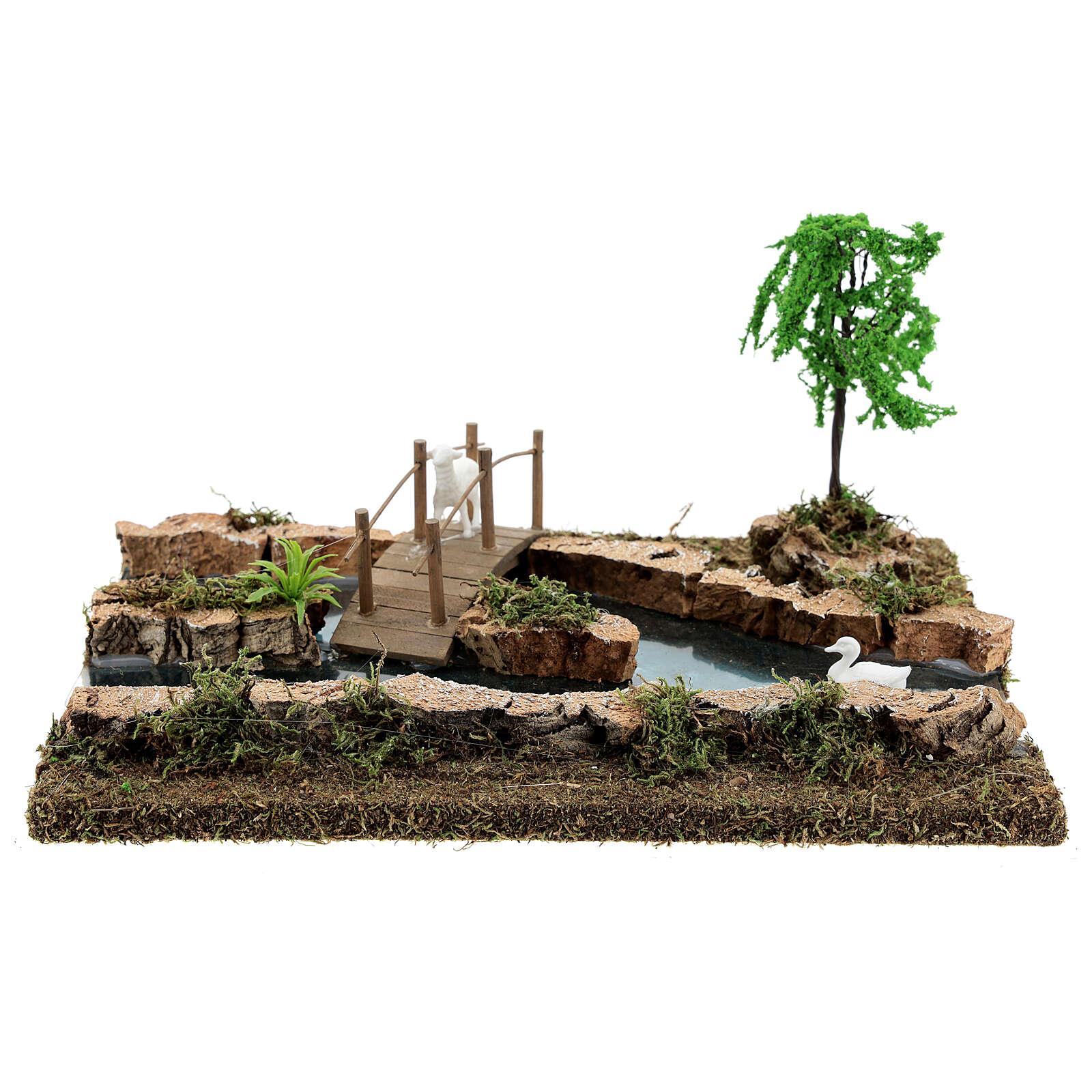 Río componible puente y animales 10x25x20 cm belenes 6-8 cm 4