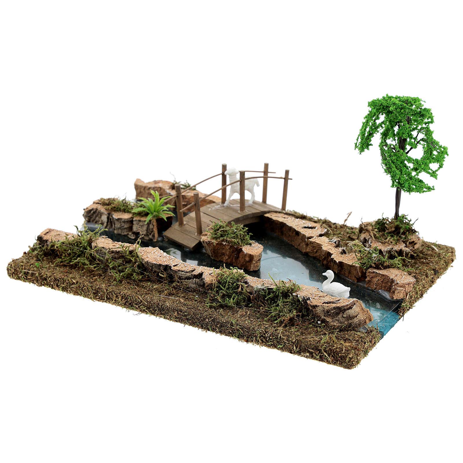 Fiume componibile ponte e animali 10x25x20 cm presepi 6-8 cm 4