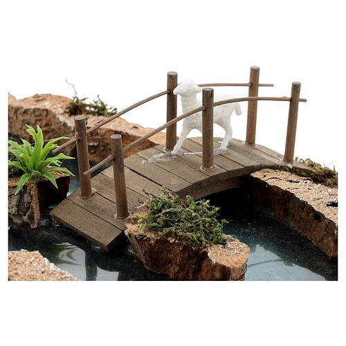 Fiume componibile ponte e animali 10x25x20 cm presepi 6-8 cm 5