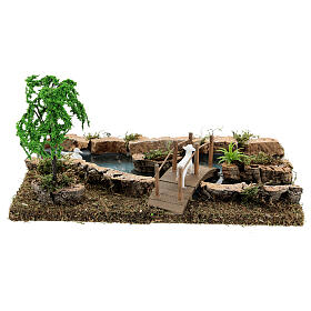 Modular river and animals figurine 10x25x10 cm 6-8 cm nativity s7