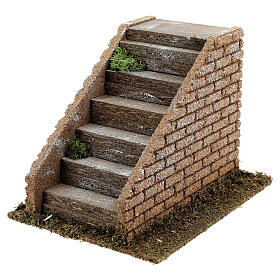 Stairs with masonry steps for Nativity scenes with 8-12 cm figurines 15x20x15 cm s2