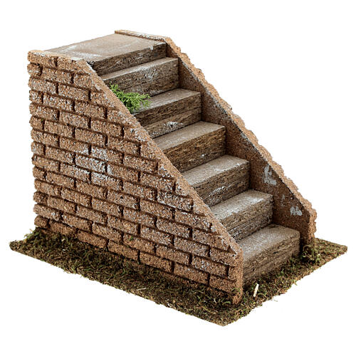 Stairs with masonry steps for Nativity scenes with 8-12 cm figurines 15x20x15 cm 3