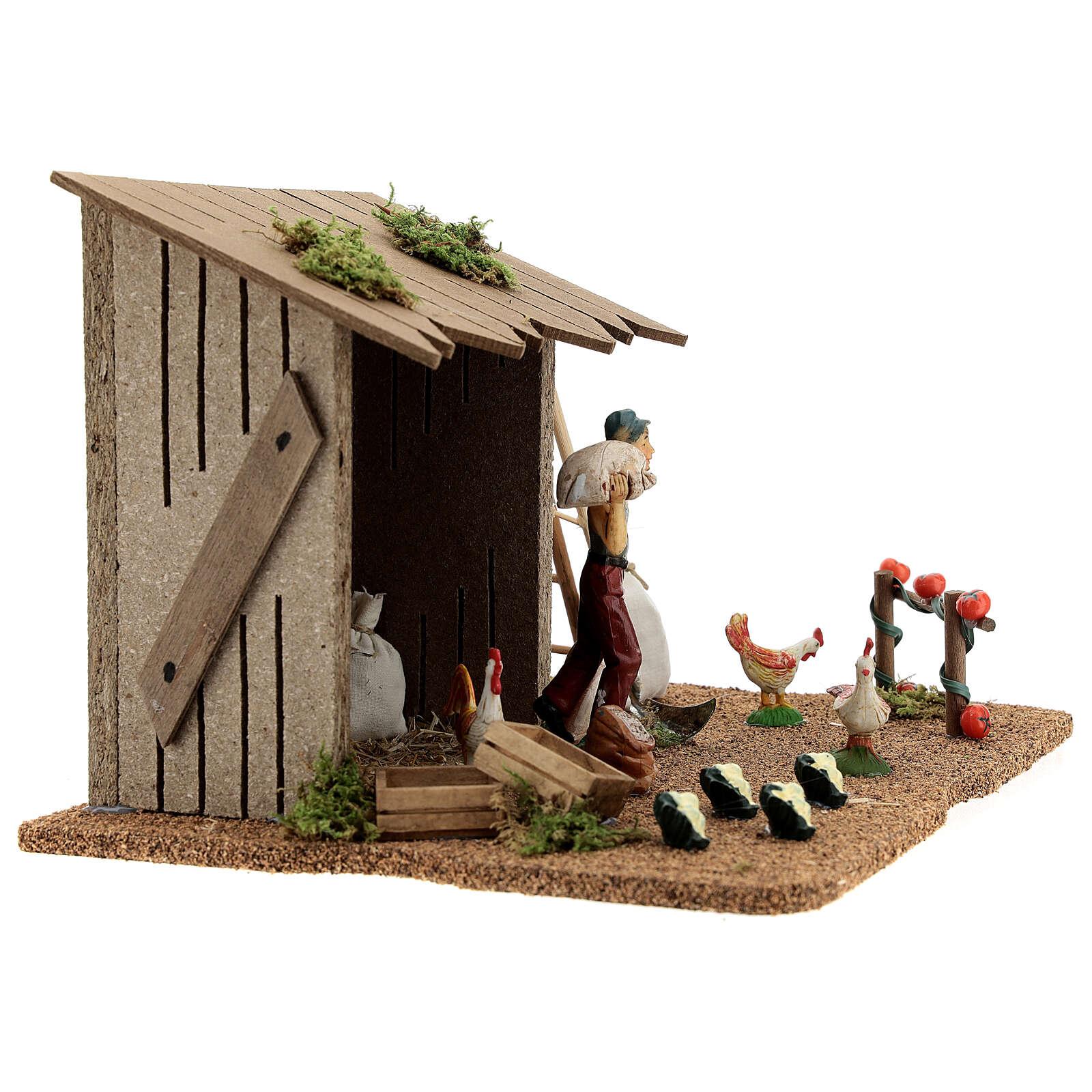 Farmer shed with animals, Moranduzzo 20x25x15 cm 4