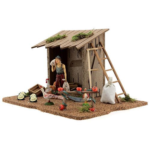 Farmer shed with animals, Moranduzzo 20x25x15 cm 3