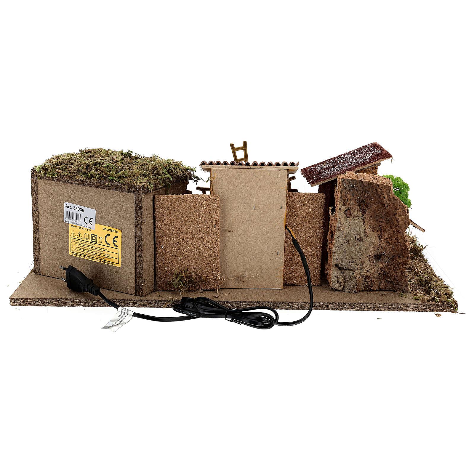 Pueblo con Natividad línea Moranduzzo belenes 8-10 cm 20x55x25 cm 4