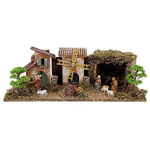 Pueblo con Natividad línea Moranduzzo belenes 8-10 cm 20x55x25 cm 1