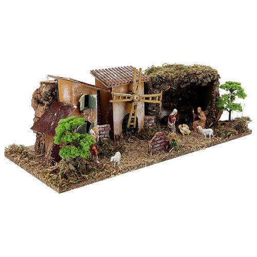 Pueblo con Natividad línea Moranduzzo belenes 8-10 cm 20x55x25 cm 3