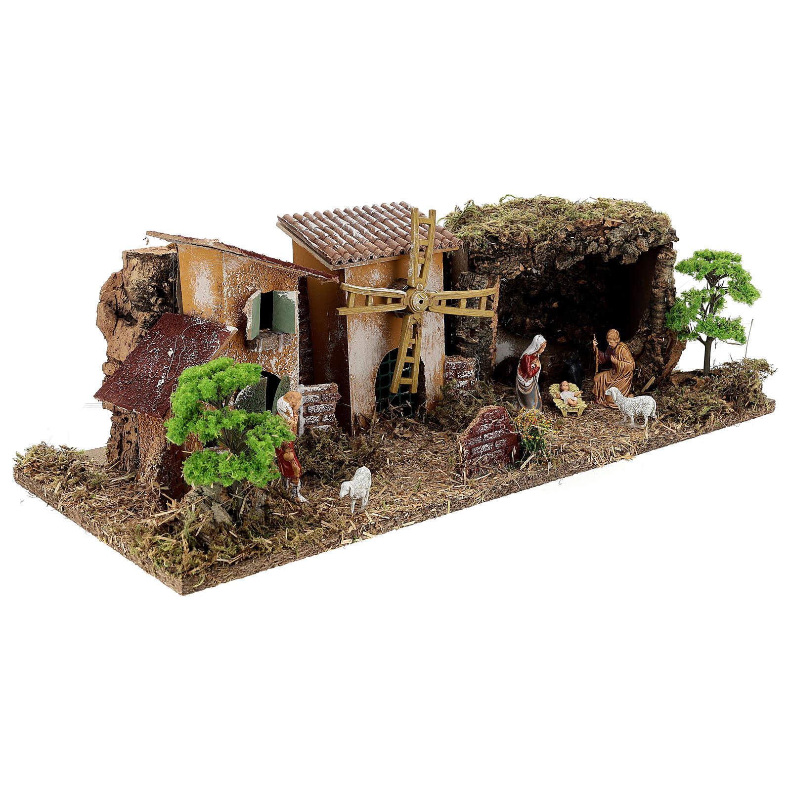 Village avec Nativité gamme Moranduzzo crèche 8-10 cm 20x55x25 cm 4