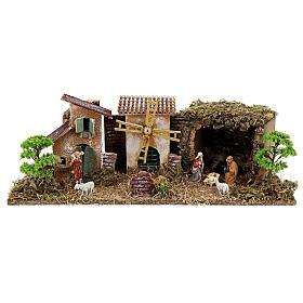 Borgo con Natività linea Moranduzzo presepi 8-10 cm 20x55x25 cm s1