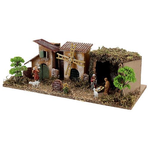 Borgo con Natività linea Moranduzzo presepi 8-10 cm 20x55x25 cm 2