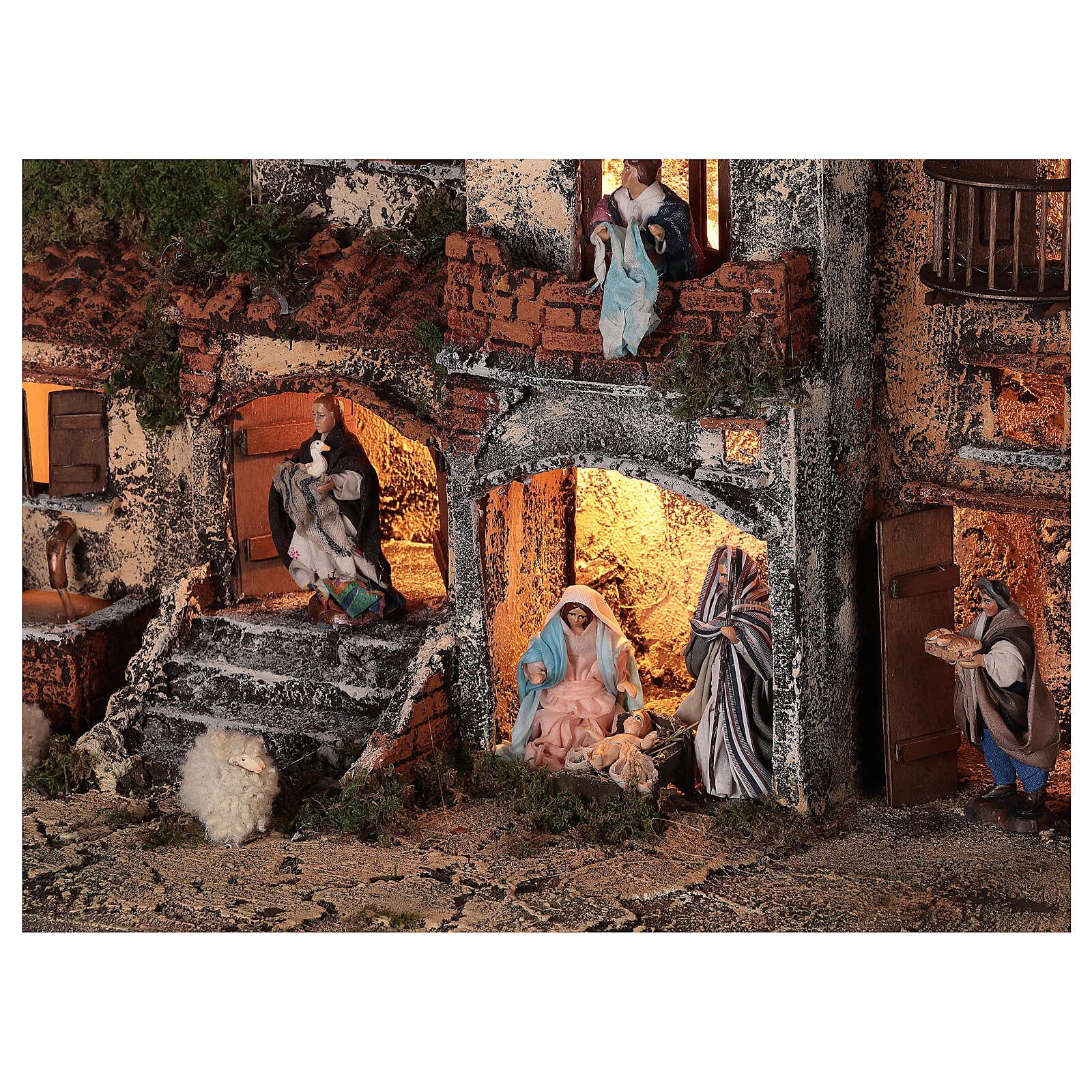 Crèche Naples complet briques rouges moutons lumières fontaine 45x50x30 cm santons 8 cm 4