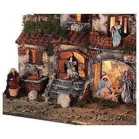 Crèche Naples complet briques rouges moutons lumières fontaine 45x50x30 cm santons 8 cm s4