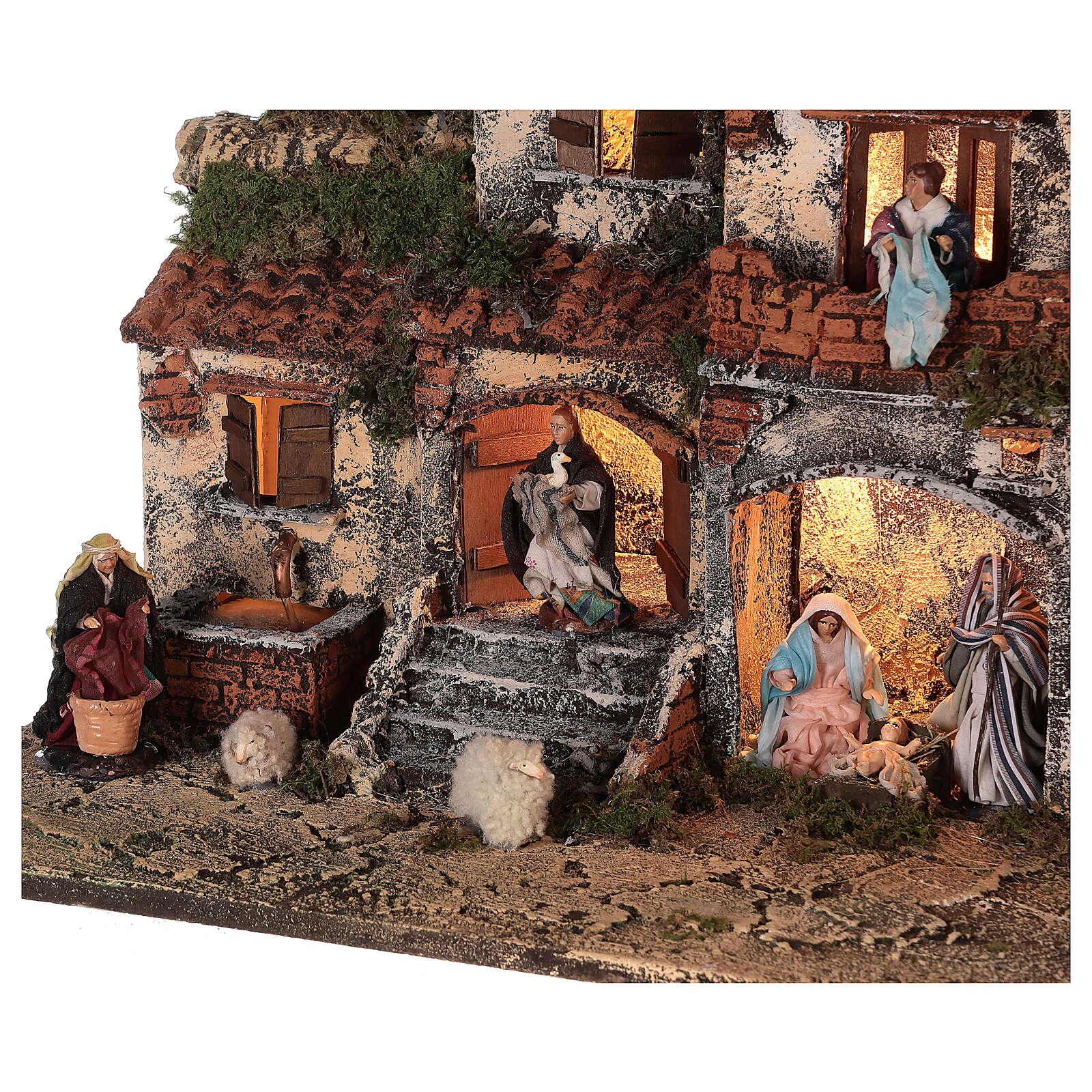 Presépio napolitano completo tijolos vermelhos, ovelhas e fonte, figuras altura média 8 cm, 45x50x30 cm 4