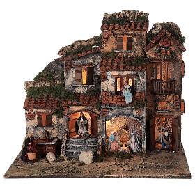 Presépio napolitano completo tijolos vermelhos, ovelhas e fonte, figuras altura média 8 cm, 45x50x30 cm s1