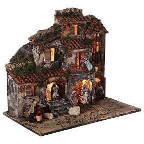 Presépio napolitano completo tijolos vermelhos, ovelhas e fonte, figuras altura média 8 cm, 45x50x30 cm s5