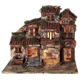 Presépio napolitano completo tijolos vermelhos, ovelhas e fonte, figuras altura média 8 cm, 45x50x30 cm s6