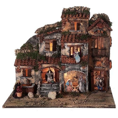 Presépio napolitano completo tijolos vermelhos, ovelhas e fonte, figuras altura média 8 cm, 45x50x30 cm 1