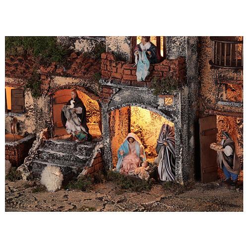Presépio napolitano completo tijolos vermelhos, ovelhas e fonte, figuras altura média 8 cm, 45x50x30 cm 2