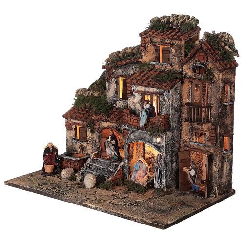 Presépio napolitano completo tijolos vermelhos, ovelhas e fonte, figuras altura média 8 cm, 45x50x30 cm 3