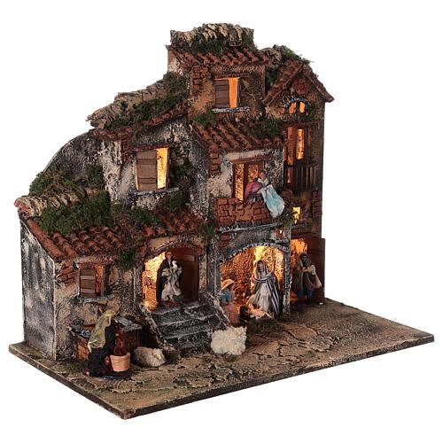 Presépio napolitano completo tijolos vermelhos, ovelhas e fonte, figuras altura média 8 cm, 45x50x30 cm 5