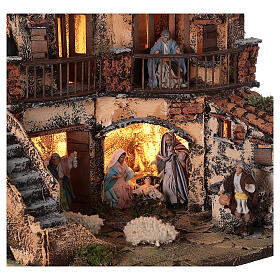Presepe completo luci fontana tre piani napoletano 40x40x30 statue 8 cm s2