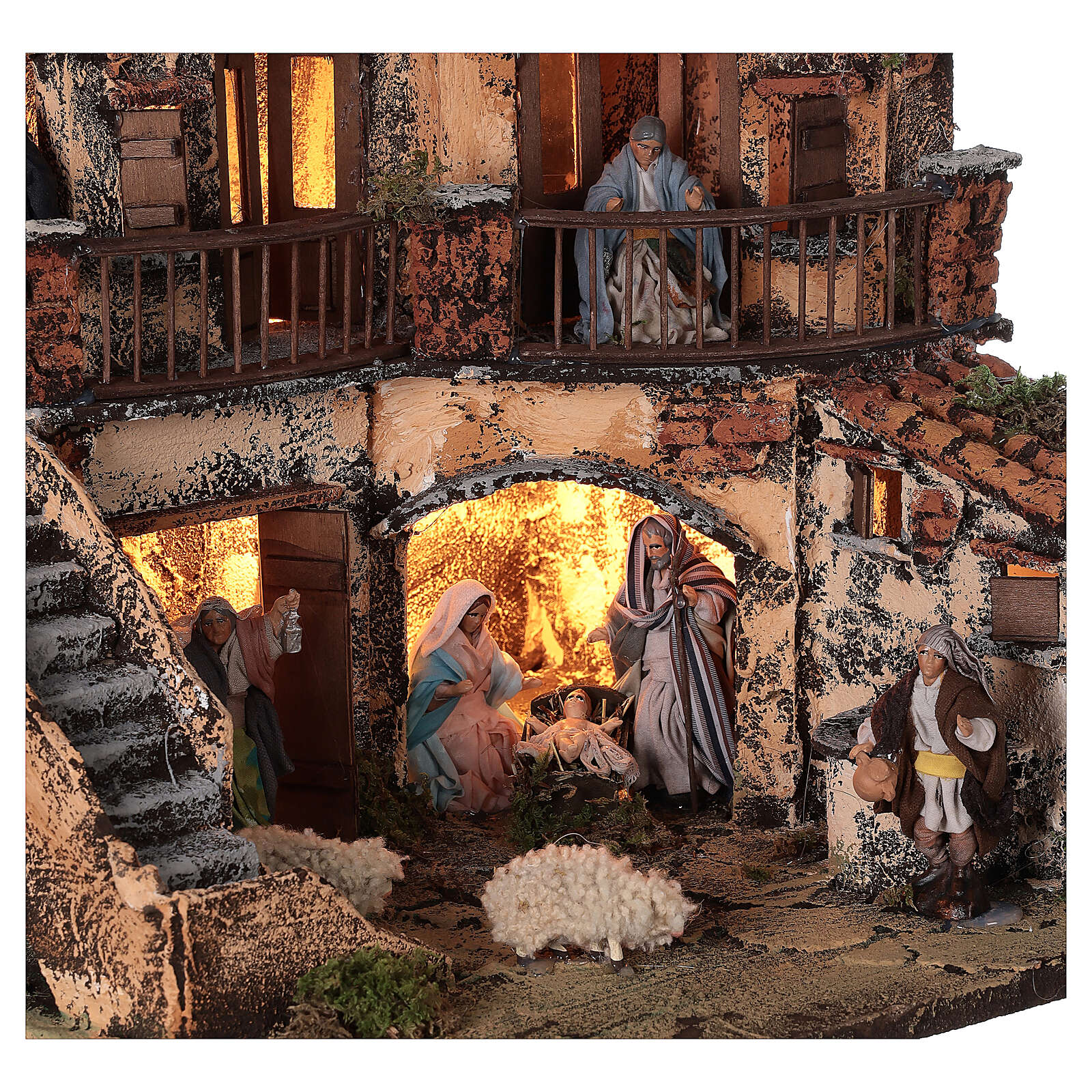 Complete Neapolitan Nativity Scene lights fountain three levels 40x40x30 cm for figurines of 8 cm average height 4