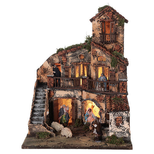 Complete Neapolitan Nativity Scene lights fountain three levels 40x40x30 cm for figurines of 8 cm average height 1