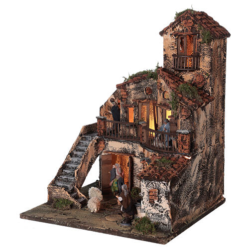 Complete Neapolitan Nativity Scene lights fountain three levels 40x40x30 cm for figurines of 8 cm average height 3