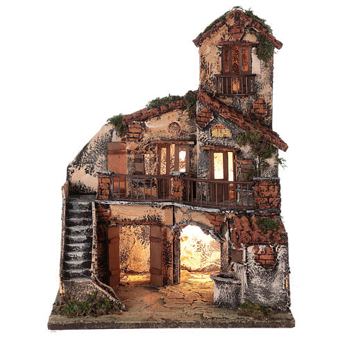 Complete Neapolitan Nativity Scene lights fountain three levels 40x40x30 cm for figurines of 8 cm average height 6