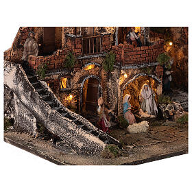 Complete Neapolitan Nativity Scene with lights fountain and balconies 40x60x35 cm for figurines of 8 cm average height s4