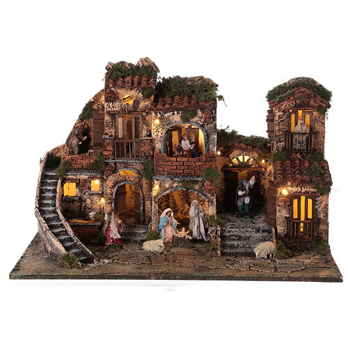 Complete Neapolitan Nativity Scene with lights fountain and balconies 40x60x35 cm for figurines of 8 cm average height 1