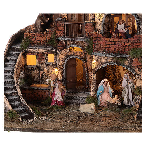 Complete Neapolitan Nativity Scene with lights fountain and balconies 40x60x35 cm for figurines of 8 cm average height 2