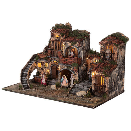 Complete Neapolitan Nativity Scene with lights fountain and balconies 40x60x35 cm for figurines of 8 cm average height 3