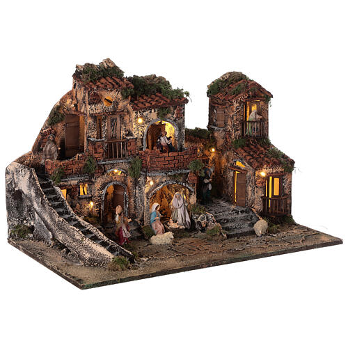 Complete Neapolitan Nativity Scene with lights fountain and balconies 40x60x35 cm for figurines of 8 cm average height 5