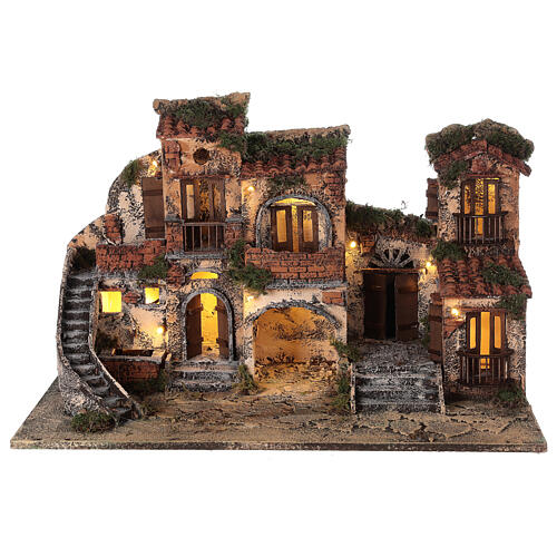 Complete Neapolitan Nativity Scene with lights fountain and balconies 40x60x35 cm for figurines of 8 cm average height 6